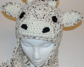Fleece Crochet Giraffe Earflap Hat Pattern
