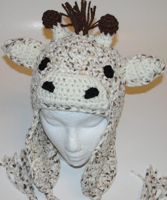 Crochet Pattern Giraffe Hat : Fleece Crochet Giraffe Earflap Hat Pattern