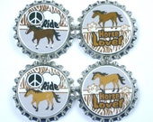 Set of 4 I love Horses Horse Riding is My Thing orse Lover Sealed Bottle Caps
