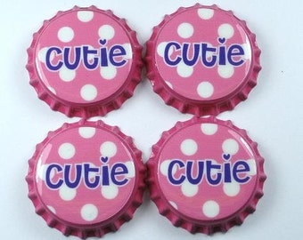 Set 4 Cutie Pink and Purple sealed bottle caps