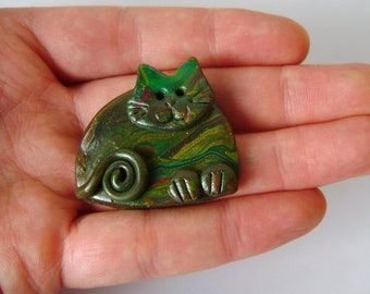 Polymer Clay Happy Green Cat Pin or Magnet