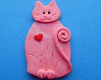 Polymer Clay Pink Cat with Red Heart Brooch or Magnet