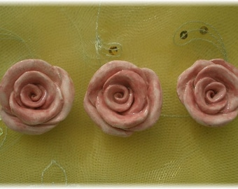 Rose Ceramic Magnets Set of 3