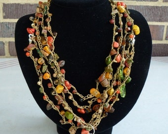 Versatile Long Earthy Gemstone Bead Crochet Necklace Plus Coordinating Charm Necklace to Wear Separate or Together, Casual Wear Accessory