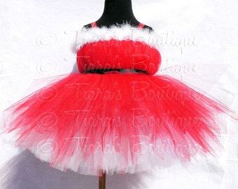 "Christmas Tutu Dress - Sweet Santa Pixie - Custom Sewn Belted Red Pixie Dress w/ a White Undercoat - sizes up to 24 months and 20"" long"