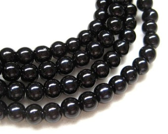 120pcs 6mm Glass pearl beads - Black