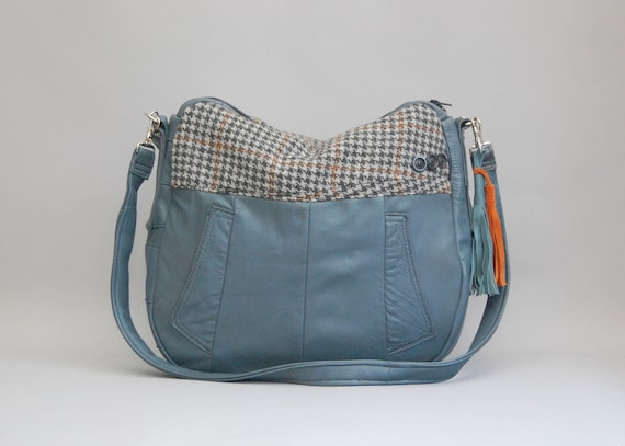 TUNDRA /// light blue leather bag with mens suiting fabric