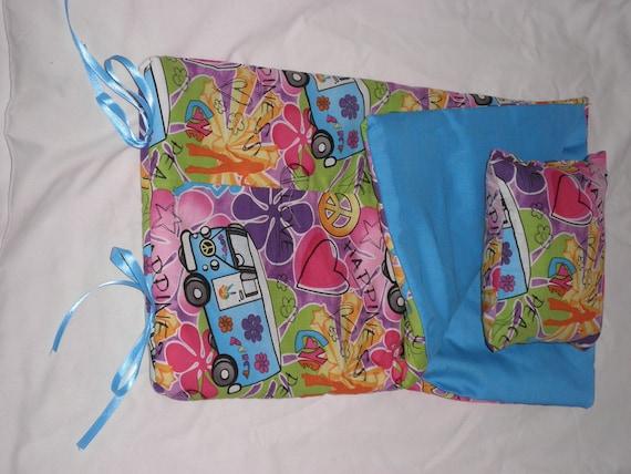 Handmade Sleeping Bag (Happiness, Love & VW Van Turquoise) fits 18 inch Doll Like American Girl