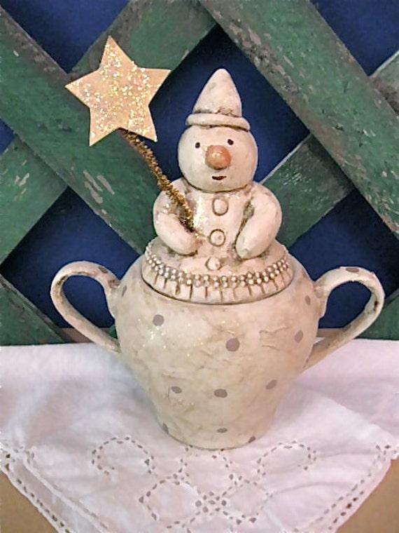 Snowman sugar jar- mixed media- original- sculpted- winter snowman- Christmas decoration- sugar bowl