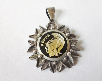 Vintage Rustic Sterling Pendant Greek Warrior Aohna very old signed 925 Roman