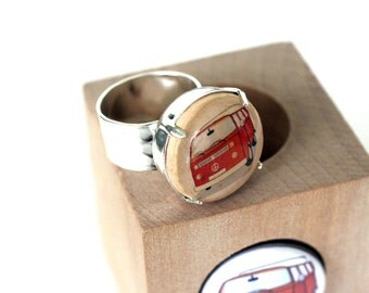 VW Bus Jewelry, VW Bus Ring, Adjustable, Recycled Wine Cork and Wood Cube, Gift for Traveler, Nomad, Boho Love, Travel Jewelry, by Uncorked
