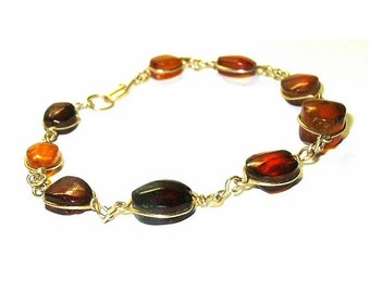 Antique Bracelet Genuine Baltic Amber Wire Wrap Thin Gold Wire