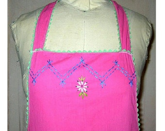 Vintage Full Apron Pink Cotton Hand Embroidered Flowers Zigzags Mint Green Ricrac Trim