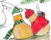 Winter Pears humorous art reproduction