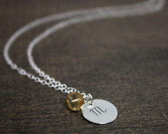 Hand Stamped Zodiac Necklace - November Scorpio - Birthday Gift - Sterling Silver, Citrine - Birthstone Necklace - Gift For Her