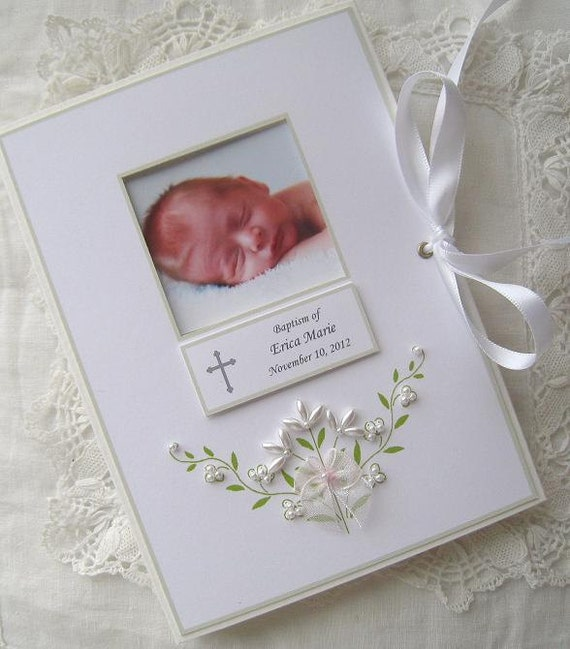 Baptism photo album personalized photo album baby gift like this item negle Image collections