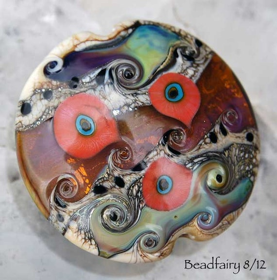 Multicolor lampwork bead , lentil focalbead, focal in pink , multicolor and topaz ,  glass beads by Beadfairy Lampwork