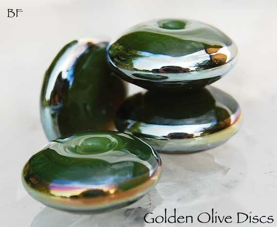 7 Golden Olive Discs , lampwork beads in olive green with metallic gold , glass beads by Beadfairy Lampwork, SRA