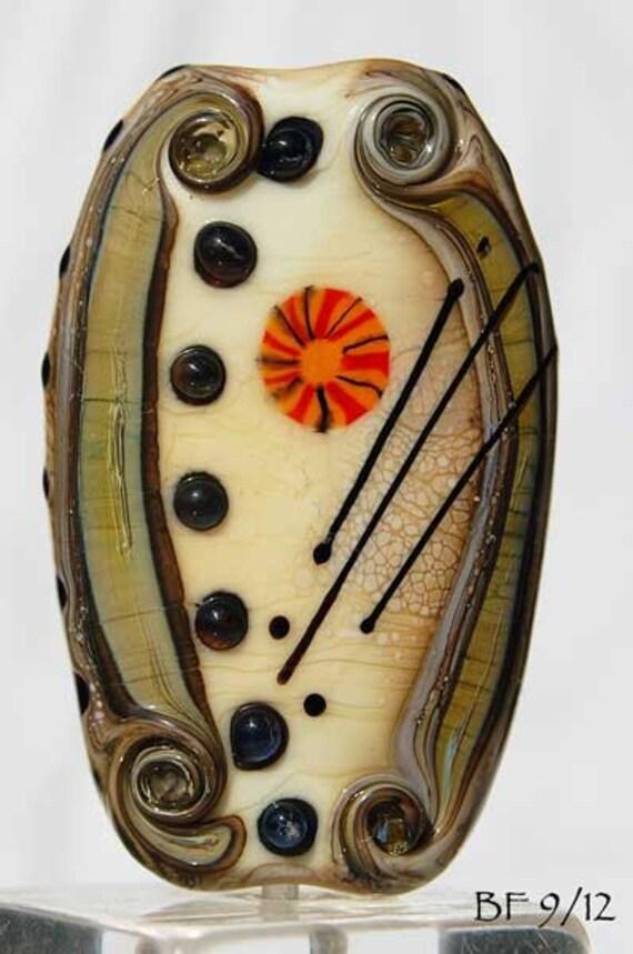 Large organic Lampwork  focal bead in ivory, green brown  with murrini handmade glass beads by Beadfairy Lampwork, Ooak, SRA