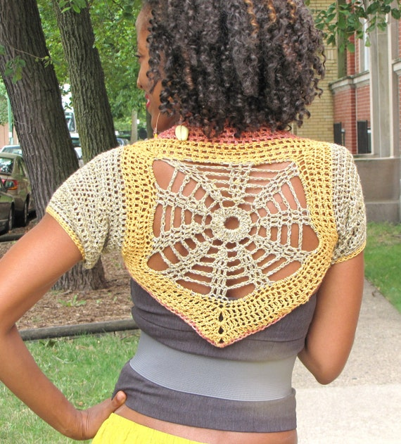 Motif Shrug - Ready to Wear - Gold Shimmer in Gold, Rose and Pewter