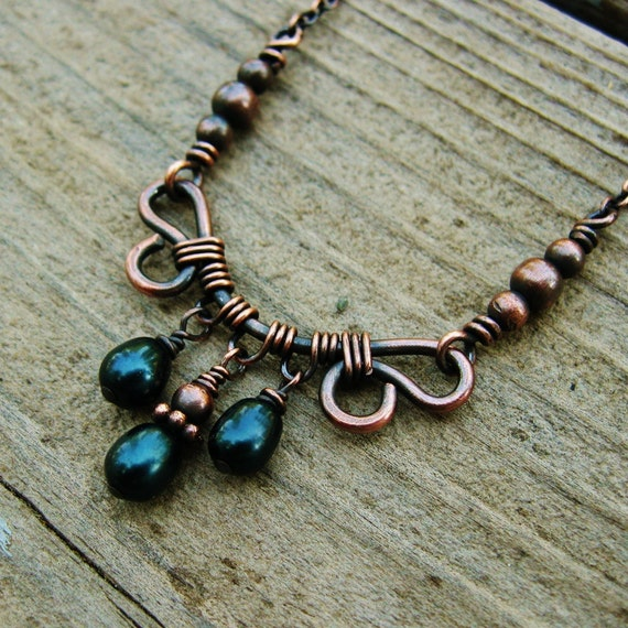 Antiqued Copper and Deep Teal Freshwater Pearl wire wrapped necklace