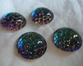Thousand Eyes or Snakeskin Helio Green Mirror Foiled 15mm Round Cabochons 4 Pcs