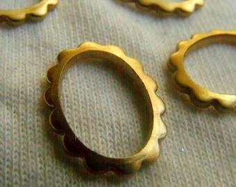 Fancy Brass Floral Open Oval Cog Ring 16x12mm 6 Pcs