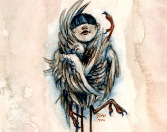 ACEO gothic fantasy angel bird painting print - Taxidermy