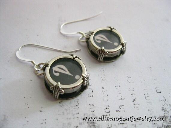 Interrobang Antique Typewriter Key Earrings - sterling silver