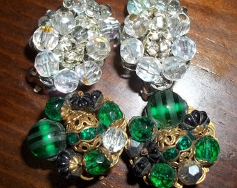 2 Pair of DESIGNER Vintage Sparkly Earrings by ROBERT who worked for Miriam Haskell