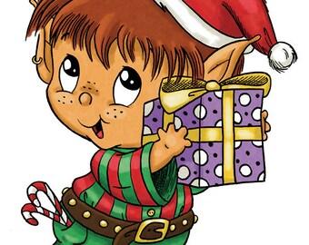 Little Elf with Present (DIGI STAMP)