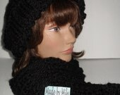 Hand knitedt or crocheted women set: Slouchy  hat and hand knit scarf thick and warm