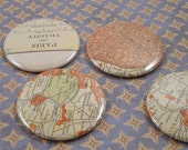 Paris and Vicinity Map Magnets, Vintage 1920s Atlas, set of 4