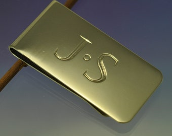 Personalised Steel Money Clip. Hand Engraved