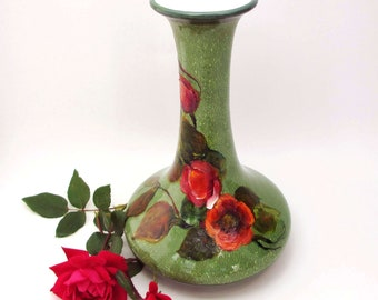 Original Hand Painted Floral Vase- Cottage Style- Flower Art- Home Decor