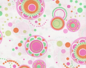 Flower Circle With Dots Fabric, 100% Cotton.
