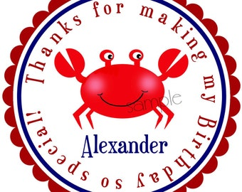 Crab Stickers, nautical stickers,Gift stickers, Gift Labels, Birthday party, Birthday, Children, Labels, favor, Pink or Blue