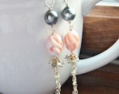 Saltwater Keshi Pearls and Vintage Angelskin Coral Mixed Metal Dangles - With Tahitian Pearls