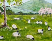 Many sheep in a spring time field