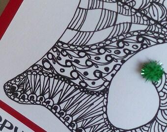 Hand Drawn   Zentangle  Style  Christmas Stocking  Design Gift  Card Holder