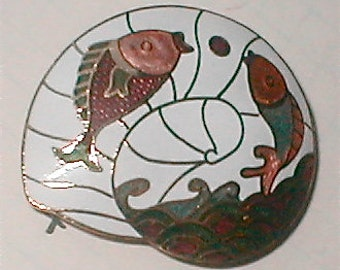 Cloisonne Pisces Scarf Slide - Vintage 70s - Nautilus and Two Leaping Koi Fish