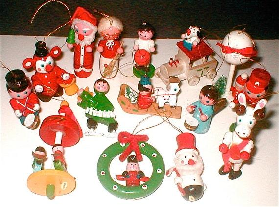 Vintage Wooden Christmas Ornaments Made In Taiwan Santa