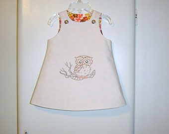 Hand appliqued baby dress in size 3 to 6 months (the sleeping owl/ vintage reclaimed fabric) Owl baby dress/ reclaimed/ recycled/ Eco wear