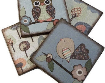 Coasters, Bird, Owl, Decoupaged Wood Wooden Drink Coaster Set of 4 Gift for Couples Housewarming Gift MADE TO ORDER By Gifts And Talents