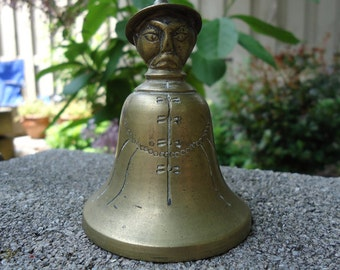 1940s, Angry Man Bell, brass bell, Asian bell, Japanese bell, angry man, Chinese man