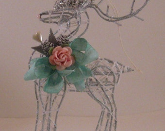 Shabby Chic Reindeer - Christmas Ornament