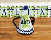 Boys First Birthday Party Hat and PARTIAL Birthday Banner - Blue and white stripes and green and navy blue accents - Banner sold BY piece