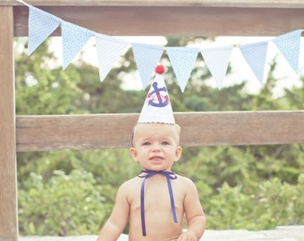 Boys Birthday Party Hat - Nautical Theme, blue, red, white - Free personalization
