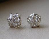 Silver Stud Earrings Best Seller, Love Knot Stud Earrings, Bridal Party Earrings, Large Silver Studs, Tie The Knot Earrings