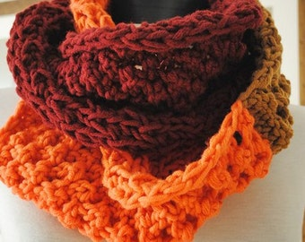 Knit Scarf /Cowl Tube Circle  Infinity Hoop Scarf Scarflette Neckwarmer